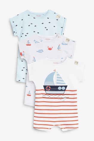 Red Nautical 3 Pack Appliqué Rompers (0mths-3yrs)