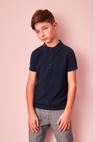 Navy Textured Knitted Polo Shirt (3-16yrs)