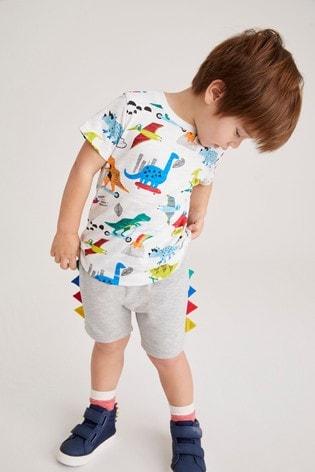 Rainbow Dino Printed T-Shirt And Jersey Shorts Set (3mths-7yrs)