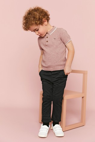 Pink Knitted Textured Polo Shirt (3mths-7yrs)