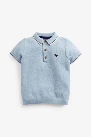 Blue Knitted Textured Polo Shirt (3mths-7yrs)