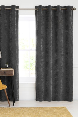 Charcoal Soft Velour Eyelet Lined Curtains