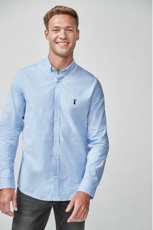 Light Blue Slim Fit Long Sleeve Stretch Oxford Shirt