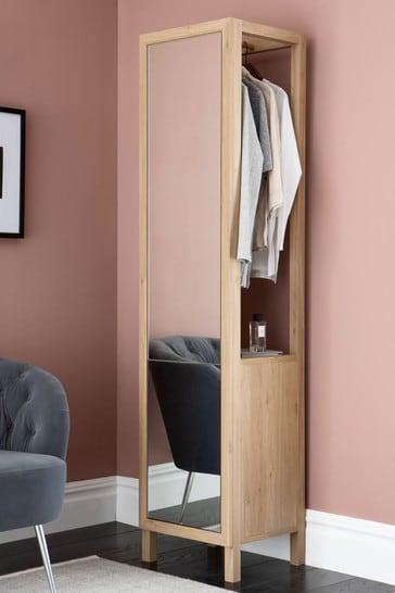 Oak Storage Mirror with Hanging Rail