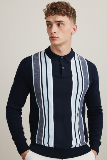 Navy/Blue Vertical Stripe Large Check Zip Premium Polo