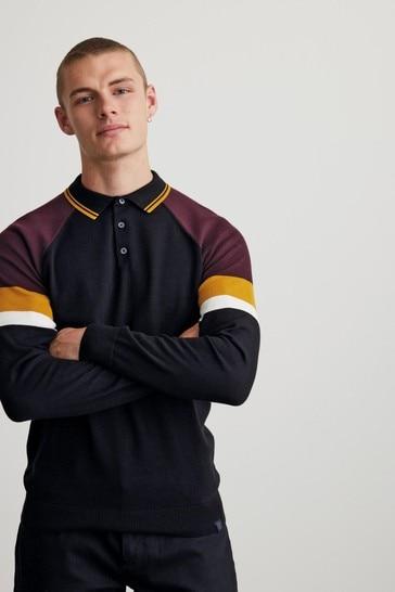 Black Sleeve Stripe Large Check Zip Premium Polo