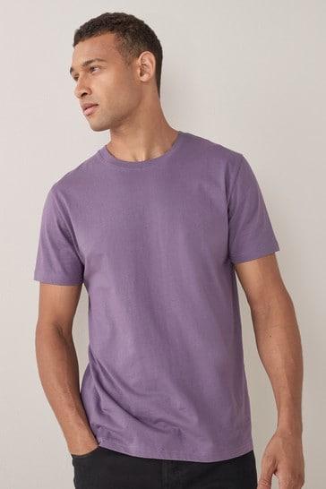 Lavender Purple Regular Fit Crew Neck T-Shirt