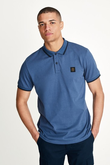 Blue Badged Tipped Regular Fit Polo Shirt