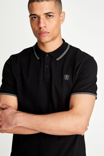 Black Badged Tipped Regular Fit Polo Shirt