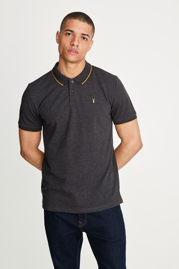 Charcoal Grey Marl Tipped Regular Fit Polo Shirt