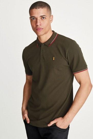 Khaki Green Tipped Regular Fit Polo Shirt