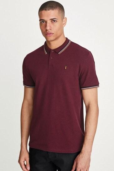 Burgundy Marl Tipped Regular Fit Polo Shirt