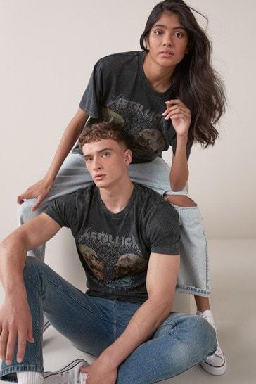 Charcoal Metallica Regular Fit Licence T-Shirt