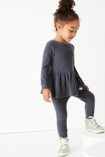 Charcoal Long Sleeve Knitted Peplum Jogger Set (3mths-7yrs)