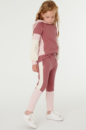 Mid Pink Joggers Soft Touch Colourblock Sweat (3-16yrs)