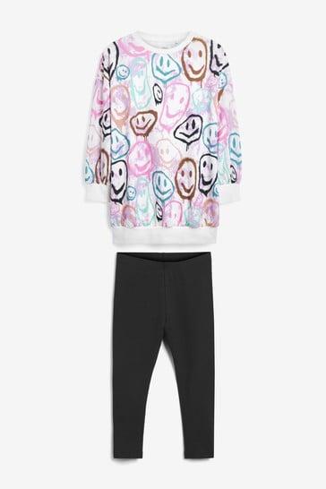 Multi Pink Tie Dye Smile T-Shirt And Leggings Set (3-16yrs)