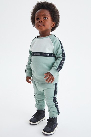 Mint Green Taped Colourblock Crew And Joggers Set (3mths-7yrs)