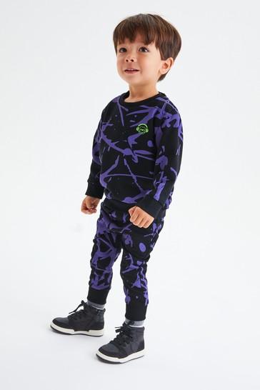 Purple Splat Sweatshirt and Joggers All Over Print Jersey Set (3mths-7yrs)