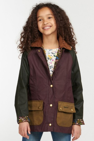 Barbour Girls Beadnell Hooded Wax Jacket