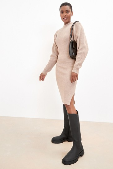 Black Forever Comfort Chunky Rubberised Knee High Boots