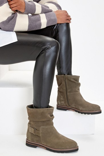 Khaki Regular/Wide Fit Forever Comfort® Leather Weekend Ankle Boots