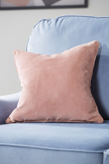 Blush Pink Soft Velour Small Square Cushion