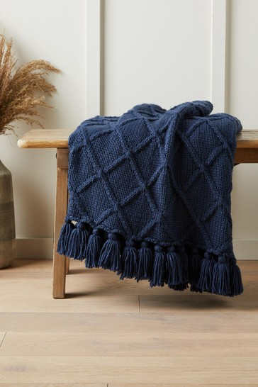 Navy Blue Chunky Cable Knit Throw