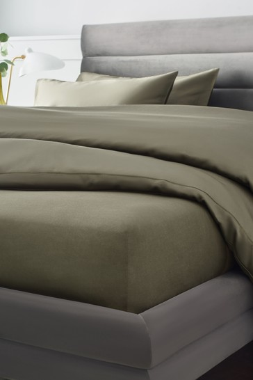 Olive Green 300 Thread Count Collection Luxe Deep Fitted 100% Cotton Fitted Sheet