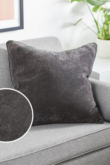 Charcoal Grey Soft Velour Large Square Cushion