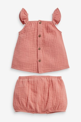 Rust Kids Matching Family Crinkle Top And Shorts Set (0mths-2yrs)