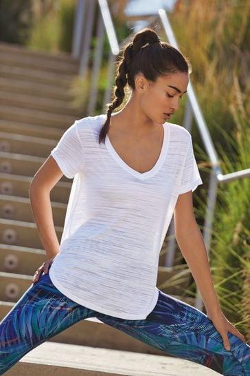 White Short Sleeve V-Neck Sports Top