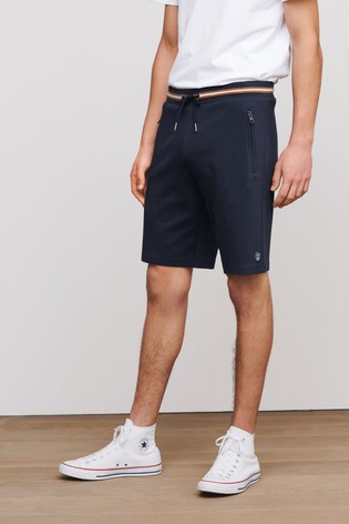Navy Tipped Straight Fit Zip Pocket Jersey Shorts