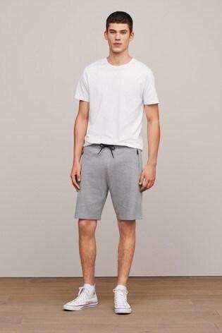 Grey Straight Fit Zip Pocket Jersey Shorts