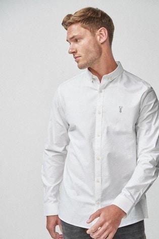 White Slim Fit Long Sleeve Stretch Oxford Shirt