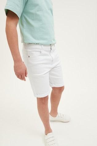 Denim White Loose Fit Denim Shorts (3mths-16yrs)