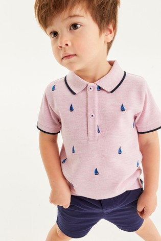 Boat Embroidered Polo And Short Set (3mths-7yrs)