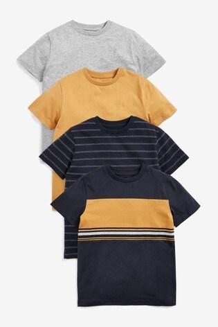 Navy/Ochre 4 Pack Colourblock T-Shirts (3-16yrs)