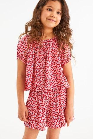 Pink Printed Co-ord T-Shirt And Shorts (3-16yrs)