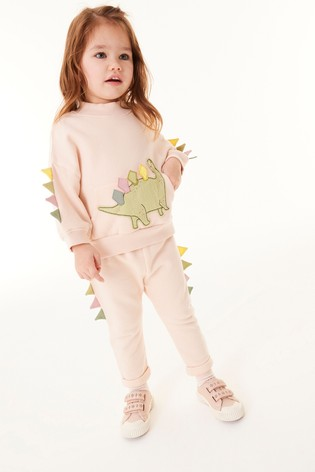 Pale Pink Dinosaur Sweat Top And Jogger Set (3mths-7yrs)