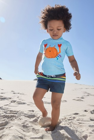 Blue Crab Rash Vest And Shorts Set (3mths-7yrs)