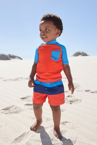 Orange Colourblock Rash Vest And Shorts Set (3mths-7yrs)