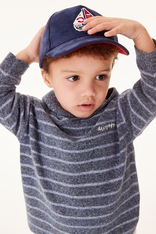 Navy Knitted Oversized Stripe Hoodie (3mths-7yrs)