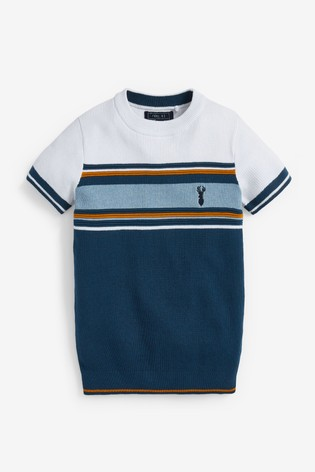 Navy Textured Knitted Chest Stripe T-Shirt (3-16yrs)