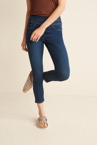 Dark Blue Super Stretch Soft Sculpting Cropped Skinny Jeans