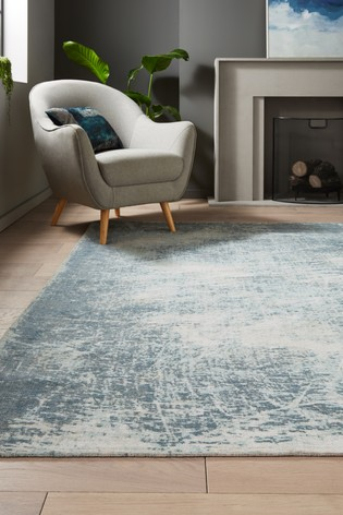 Teal Blue Graphite Abstract Rug