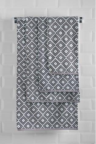 Charcoal Grey Diamond Geo Towel