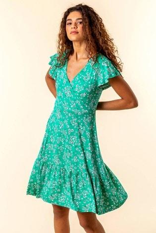 Roman Green Floral Print Wrap Tea Dress