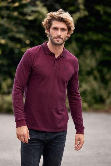 Burgundy Red Oxford Long Sleeve Pique Polo Shirt