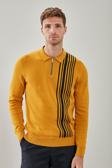 Yellow Asymmetric Stripe Large Check Zip Premium Polo