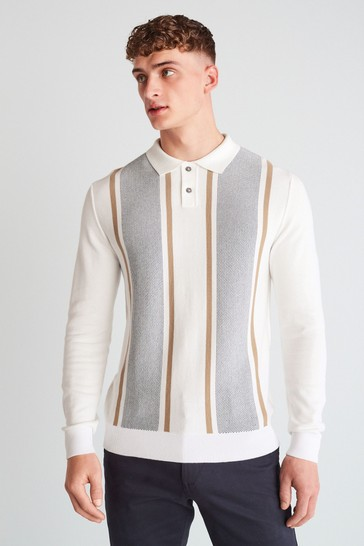 Ecru Vertical Stripe Large Check Zip Premium Polo
